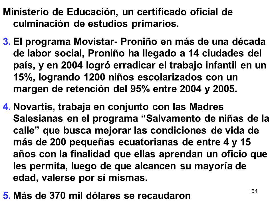 154 Ministerio de Educación, un certificado oficial de culminación de estudios primarios. 3.El programa Movistar- Proniño en más de una década de labo