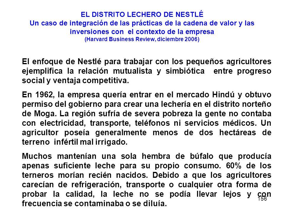 156 EL DISTRITO LECHERO DE NESTLÉ Un caso de integración de las prácticas de la cadena de valor y las inversiones con el contexto de la empresa (Harva