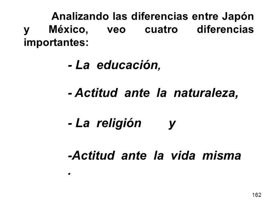 162 Analizando las diferencias entre Japón y México, veo cuatro diferencias importantes: -Actitud ante la vida misma. - La educación, - Actitud ante l