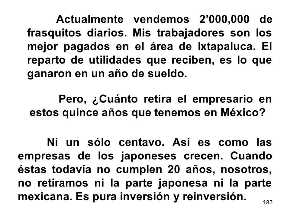 183 Actualmente vendemos 2000,000 de frasquitos diarios. Mis trabajadores son los mejor pagados en el área de Ixtapaluca. El reparto de utilidades que
