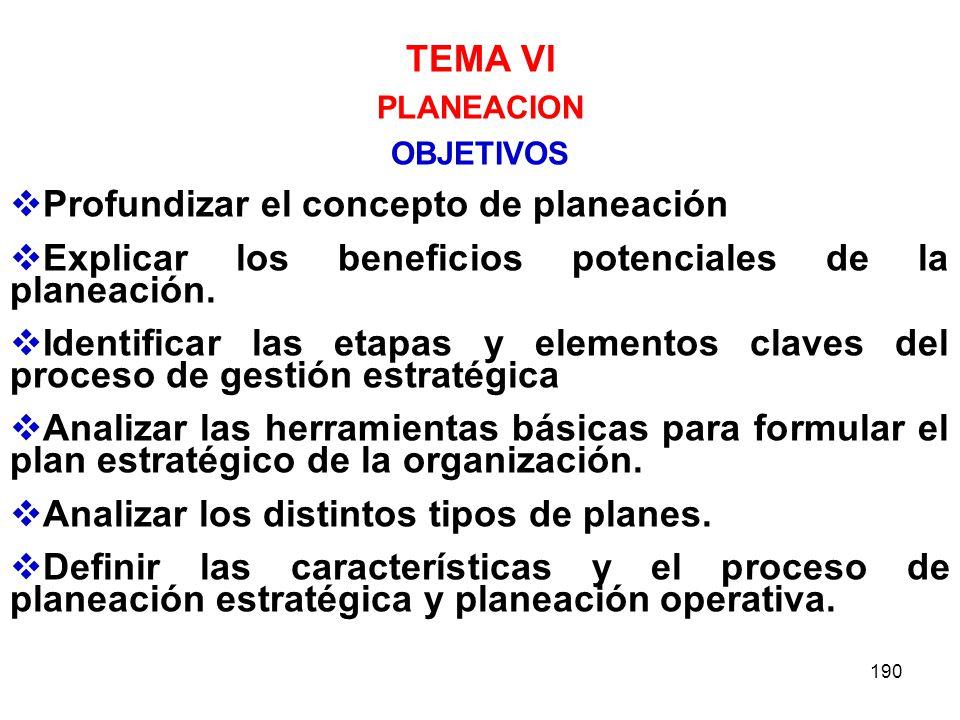 190 TEMA VI PLANEACION OBJETIVOS Profundizar el concepto de planeación Explicar los beneficios potenciales de la planeación. Identificar las etapas y