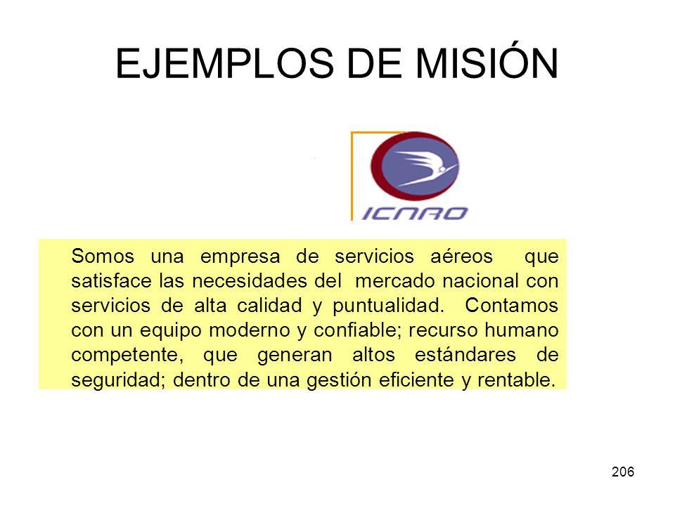 206 EJEMPLOS DE MISIÓN Somos una empresa de servicios aéreos que satisface las necesidades del mercado nacional con servicios de alta calidad y puntua