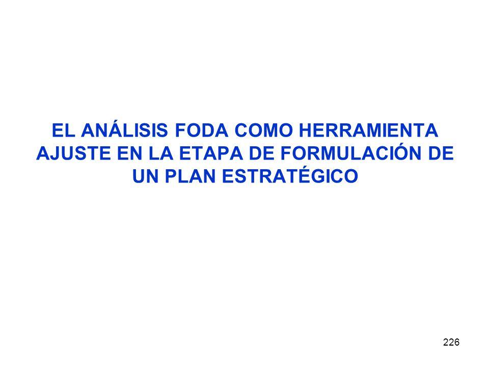 226 EL ANÁLISIS FODA COMO HERRAMIENTA AJUSTE EN LA ETAPA DE FORMULACIÓN DE UN PLAN ESTRATÉGICO