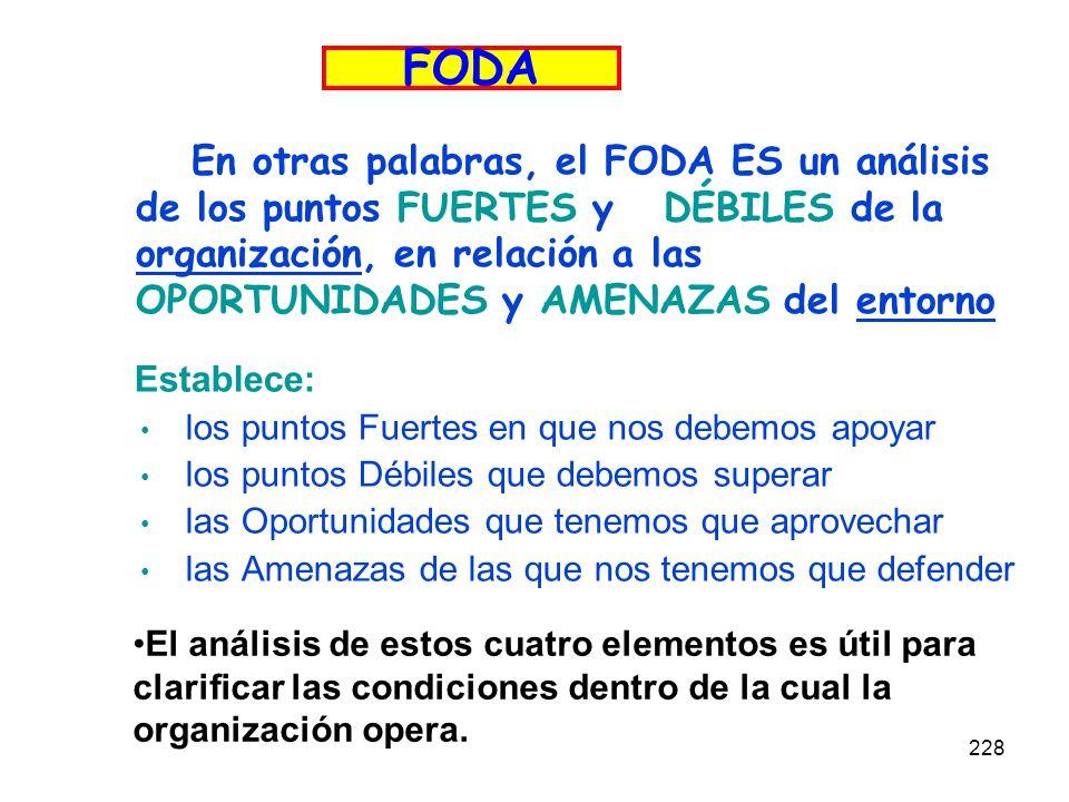 228 En otras palabras, el FODA ES un análisis de los puntos FUERTES y DÉBILES de la organización, en relación a las OPORTUNIDADES y AMENAZAS del entor