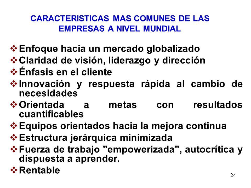 24 CARACTERISTICAS MAS COMUNES DE LAS EMPRESAS A NIVEL MUNDIAL Enfoque hacia un mercado globalizado Claridad de visión, liderazgo y dirección Énfasis