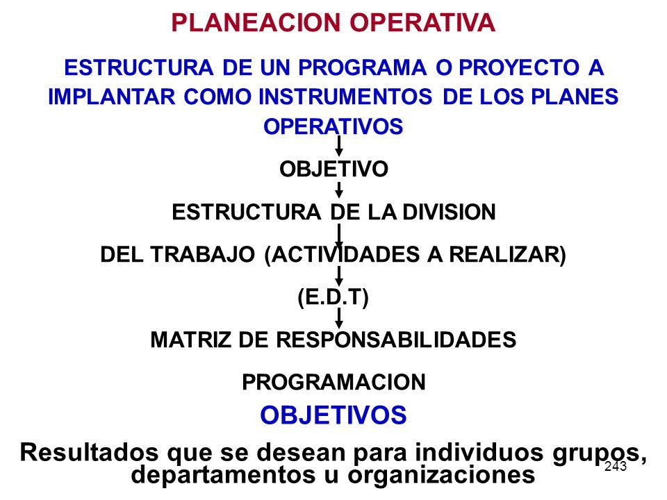 243 PLANEACION OPERATIVA ESTRUCTURA DE UN PROGRAMA O PROYECTO A IMPLANTAR COMO INSTRUMENTOS DE LOS PLANES OPERATIVOS OBJETIVO ESTRUCTURA DE LA DIVISIO