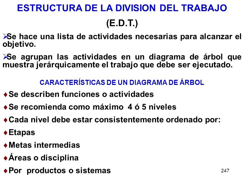 247 ESTRUCTURA DE LA DIVISION DEL TRABAJO (E.D.T.) Se hace una lista de actividades necesarias para alcanzar el objetivo. Se agrupan las actividades e
