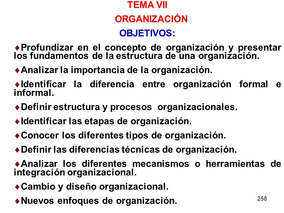 258 TEMA VII ORGANIZACIÓN OBJETIVOS: Profundizar en el concepto de organización y presentar los fundamentos de la estructura de una organización. Anal