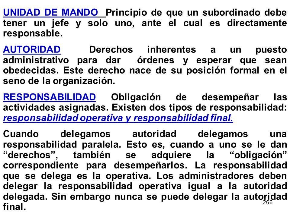 266 UNIDAD DE MANDO Principio de que un subordinado debe tener un jefe y solo uno, ante el cual es directamente responsable. AUTORIDAD Derechos inhere