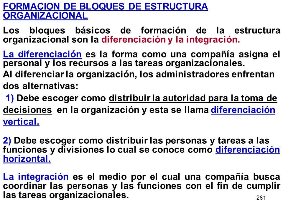 281 FORMACION DE BLOQUES DE ESTRUCTURA ORGANIZACIONAL Los bloques básicos de formación de la estructura organizacional son la diferenciación y la inte