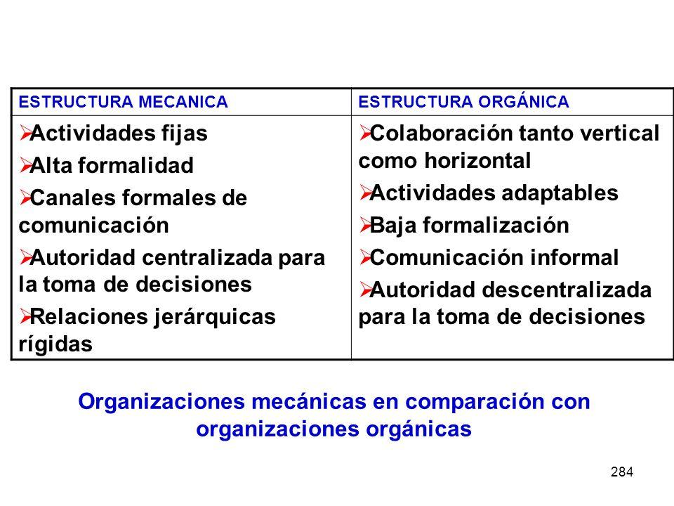 284 ESTRUCTURA MECANICAESTRUCTURA ORGÁNICA Actividades fijas Alta formalidad Canales formales de comunicación Autoridad centralizada para la toma de d