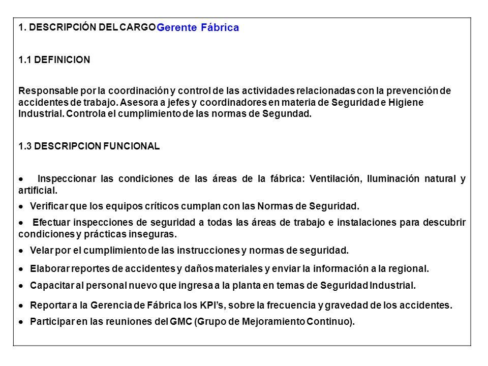 1. DESCRIPCIÓN DEL CARGO 1.1 DEFINICION Responsable por la coordinación y control de las actividades relacionadas con la prevención de accidentes de t