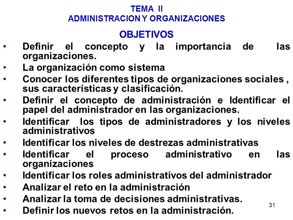 31 TEMA II ADMINISTRACION Y ORGANIZACIONES OBJETIVOS Definir el concepto y la importancia de las organizaciones. La organización como sistema Conocer