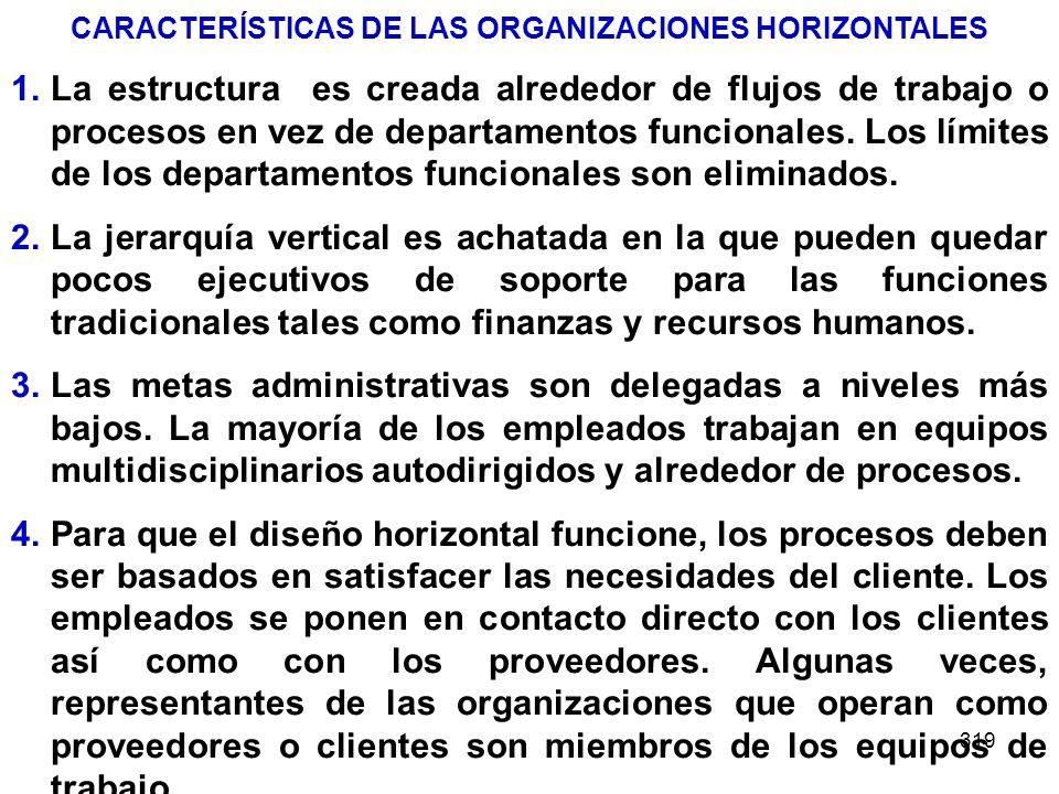 319 CARACTERÍSTICAS DE LAS ORGANIZACIONES HORIZONTALES 1.La estructura es creada alrededor de flujos de trabajo o procesos en vez de departamentos fun