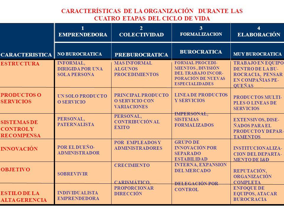 335 CARACTERISTICA 1 EMPRENDEDORA NO BUROCRATICA 2 COLECTIVIDAD PREBUROCRATICA 3 FORMALIZACION BUROCRATICA 4 ELABORACIÓN MUY BUROCRATICA ESTRUCTURA PR