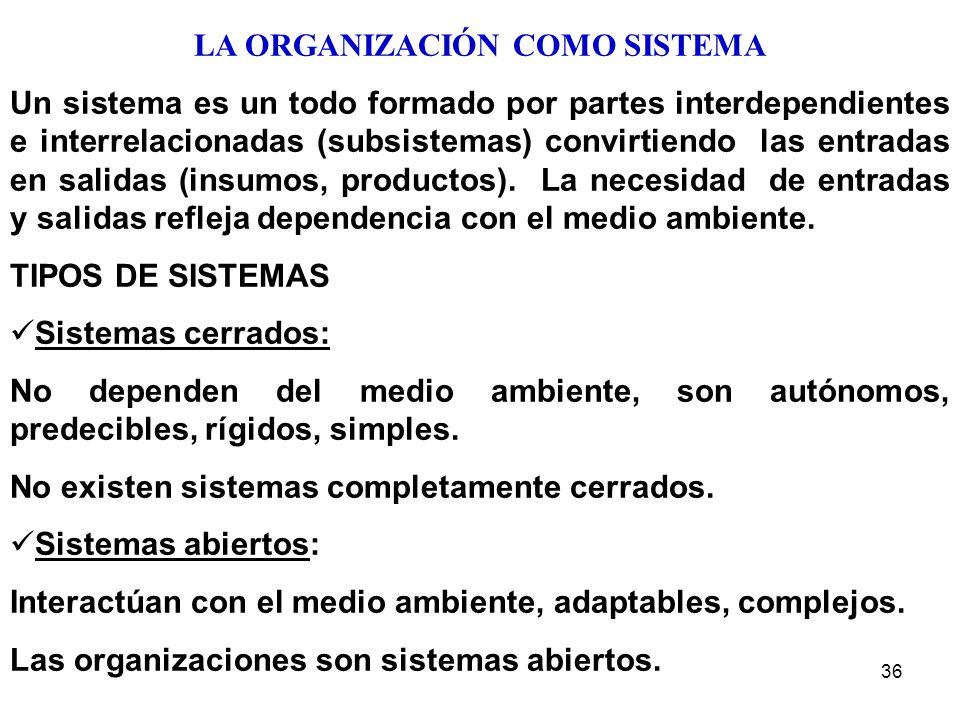 36 LA ORGANIZACIÓN COMO SISTEMA Un sistema es un todo formado por partes interdependientes e interrelacionadas (subsistemas) convirtiendo las entradas