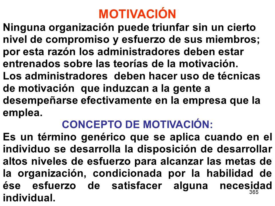 365 MOTIVACIÓN Ninguna organización puede triunfar sin un cierto nivel de compromiso y esfuerzo de sus miembros; por esta razón los administradores de