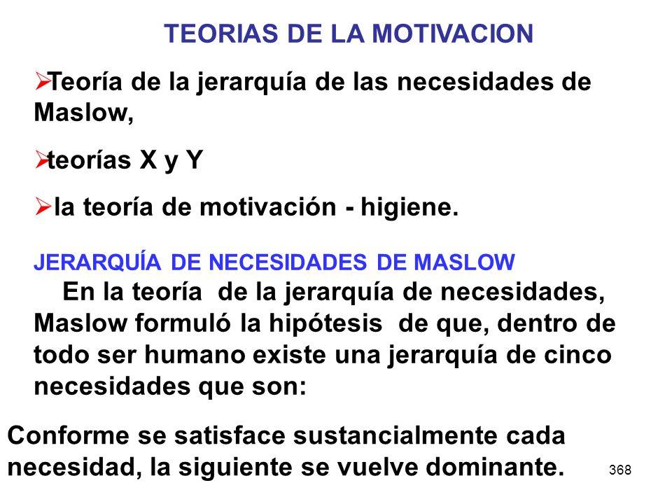 368 TEORIAS DE LA MOTIVACION Teoría de la jerarquía de las necesidades de Maslow, teorías X y Y la teoría de motivación - higiene. JERARQUÍA DE NECESI