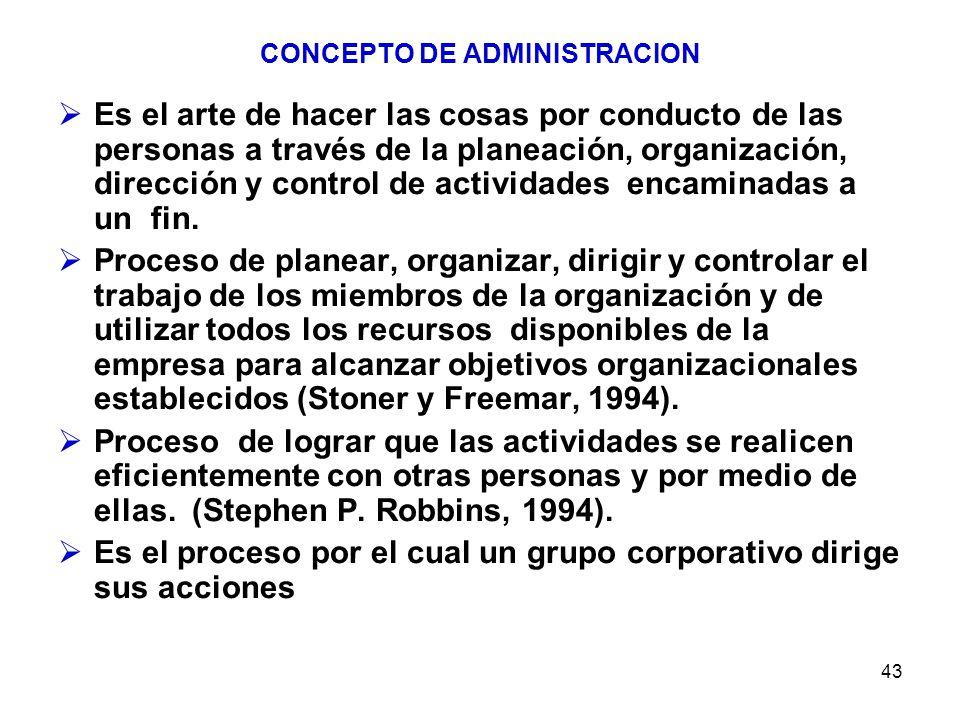 43 CONCEPTO DE ADMINISTRACION Es el arte de hacer las cosas por conducto de las personas a través de la planeación, organización, dirección y control