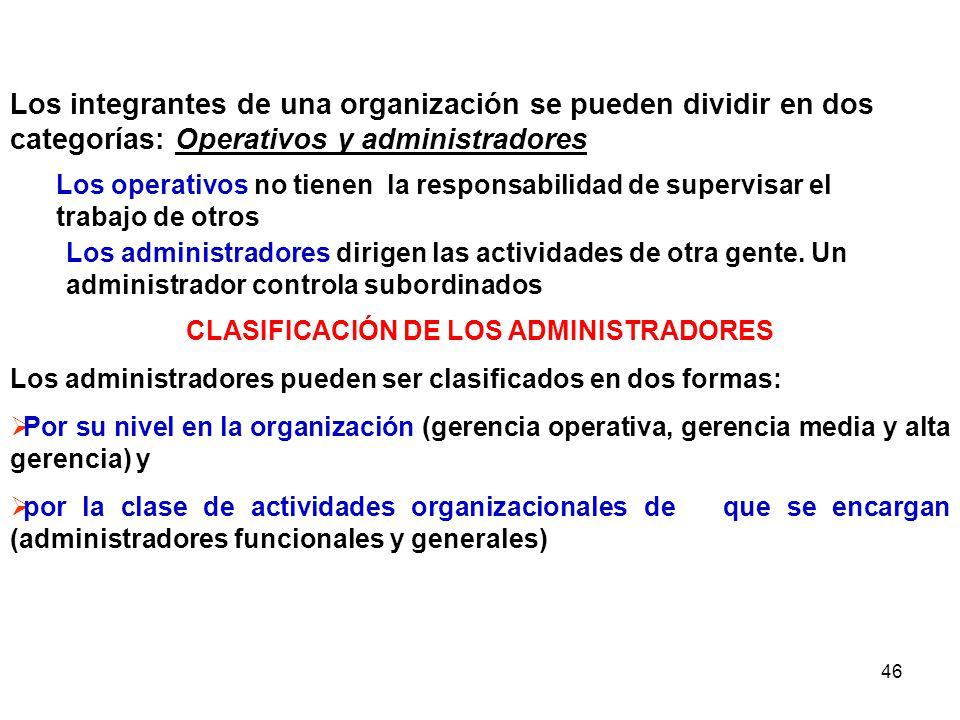 46 Los integrantes de una organización se pueden dividir en dos categorías: Operativos y administradores Los operativos no tienen la responsabilidad d