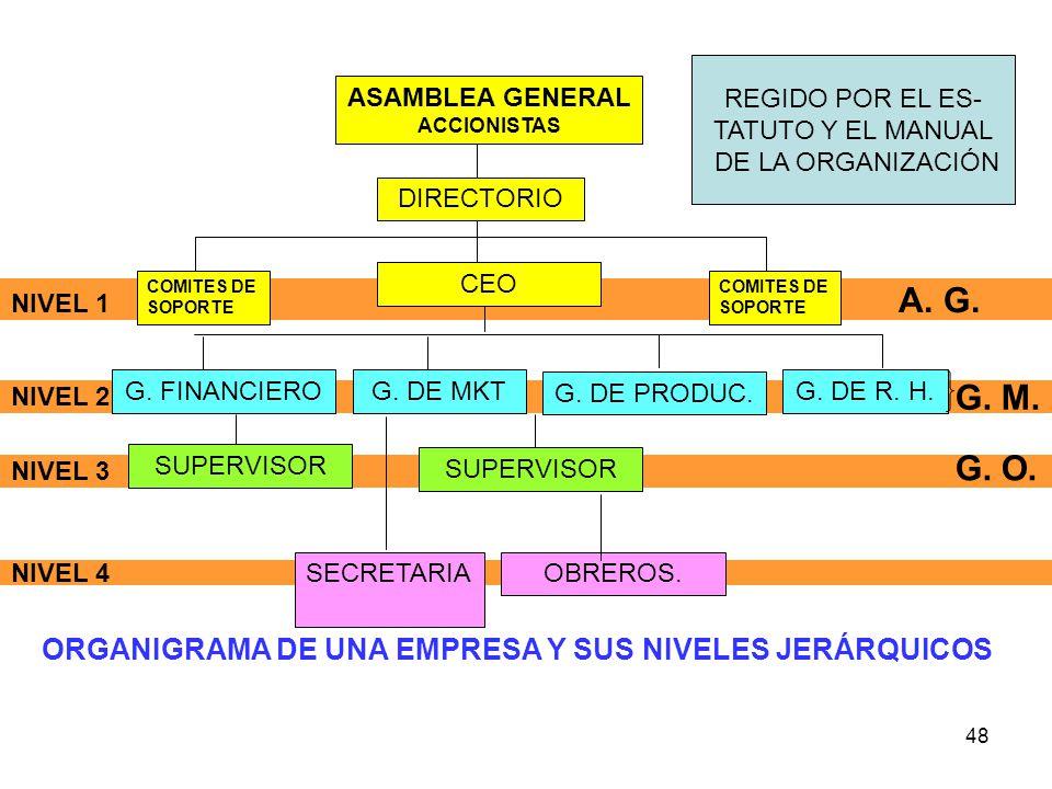 48 NIVEL 4 NIVEL 3 NIVEL 2 NIVEL 1 A. G. ASAMBLEA GENERAL ACCIONISTAS CEO COMITES DE SOPORTE G. FINANCIEROG. DE MKT G. DE PRODUC. G. DE R. H. SUPERVIS