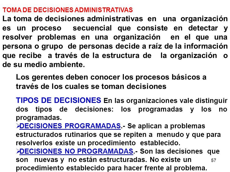 57 Los gerentes deben conocer los procesos básicos a través de los cuales se toman decisiones TOMA DE DECISIONES ADMINISTRATIVAS La toma de decisiones
