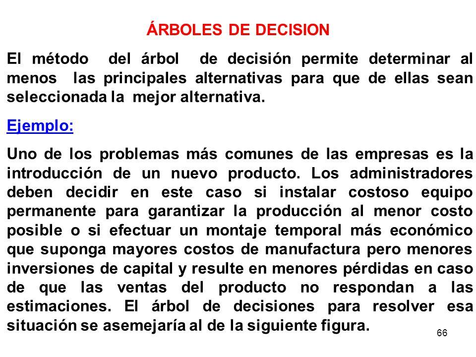 66 El método del árbol de decisión permite determinar al menos las principales alternativas para que de ellas sean seleccionada la mejor alternativa.