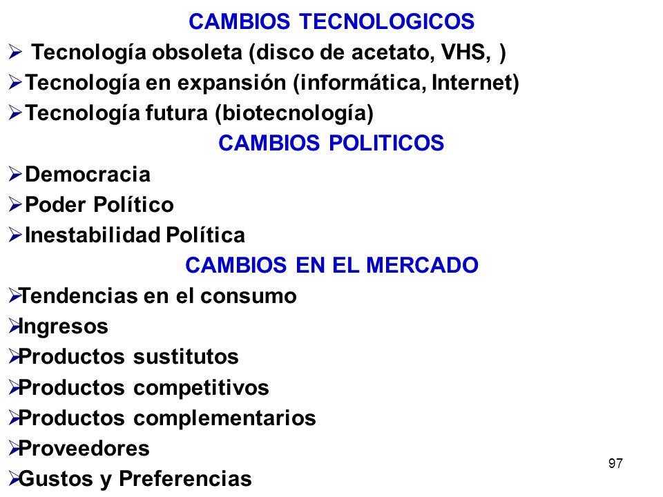 97 CAMBIOS TECNOLOGICOS Tecnología obsoleta (disco de acetato, VHS, ) Tecnología en expansión (informática, Internet) Tecnología futura (biotecnología