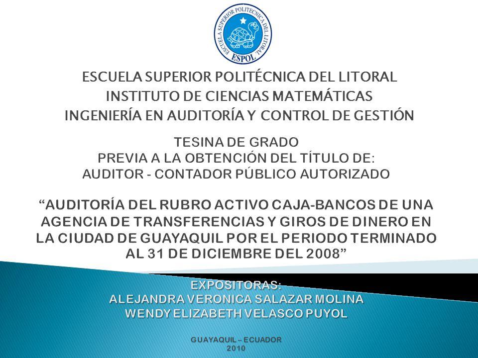 La tesina a presentarse una Auditoría a una compañía de transferencias de dinero del exterior al Ecuador y viceversa.