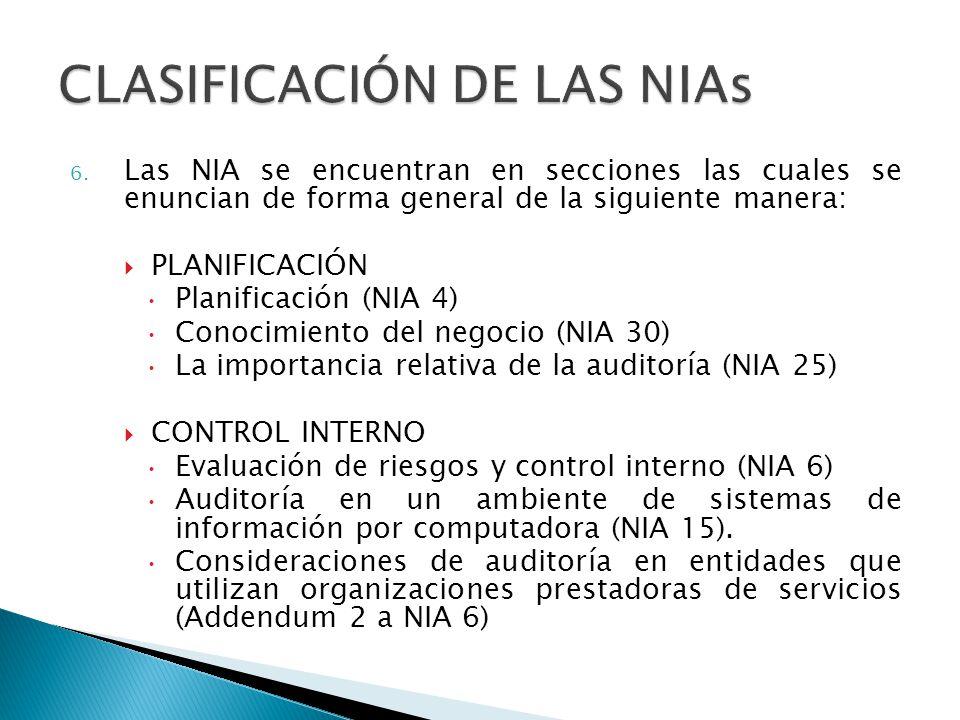 6. Las NIA se encuentran en secciones las cuales se enuncian de forma general de la siguiente manera: PLANIFICACIÓN Planificación (NIA 4) Conocimiento
