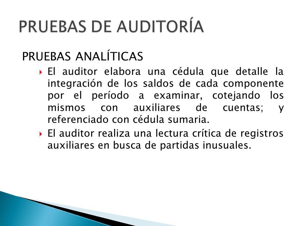 PRUEBAS ANALÍTICAS El auditor elabora una cédula que detalle la integración de los saldos de cada componente por el período a examinar, cotejando los