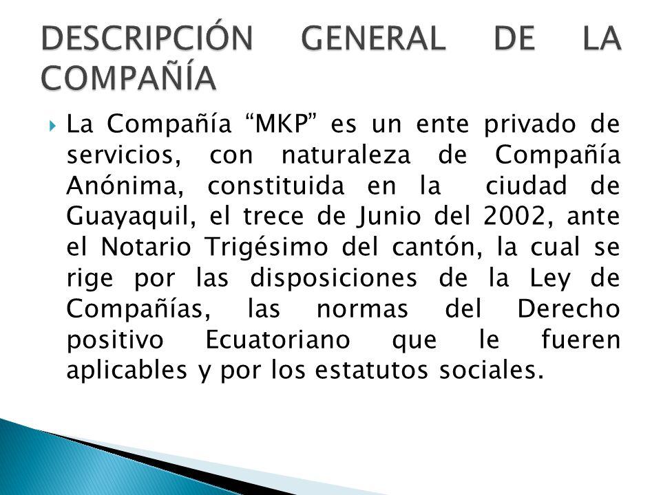 La Compañía MKP es un ente privado de servicios, con naturaleza de Compañía Anónima, constituida en la ciudad de Guayaquil, el trece de Junio del 2002