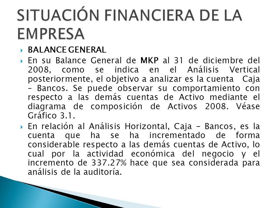 BALANCE GENERAL En su Balance General de MKP al 31 de diciembre del 2008, como se indica en el Análisis Vertical posteriormente, el objetivo a analiza