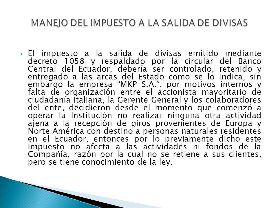 El impuesto a la salida de divisas emitido mediante decreto 1058 y respaldado por la circular del Banco Central del Ecuador, debería ser controlado, r