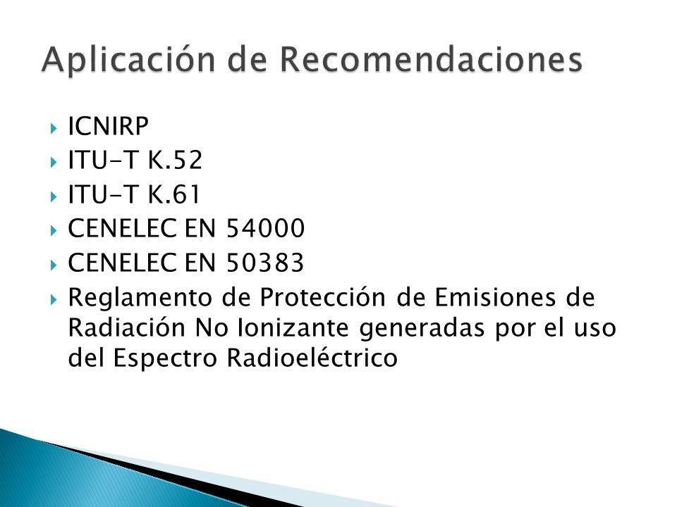 ICNIRP ITU-T K.52 ITU-T K.61 CENELEC EN 54000 CENELEC EN 50383 Reglamento de Protección de Emisiones de Radiación No Ionizante generadas por el uso de