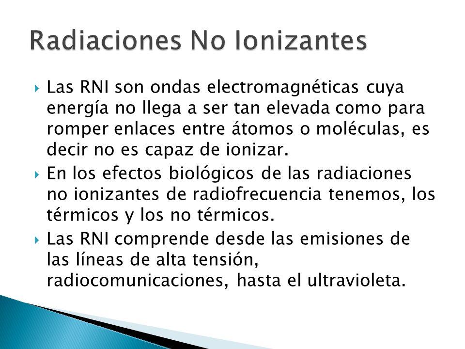Las RNI son ondas electromagnéticas cuya energía no llega a ser tan elevada como para romper enlaces entre átomos o moléculas, es decir no es capaz de