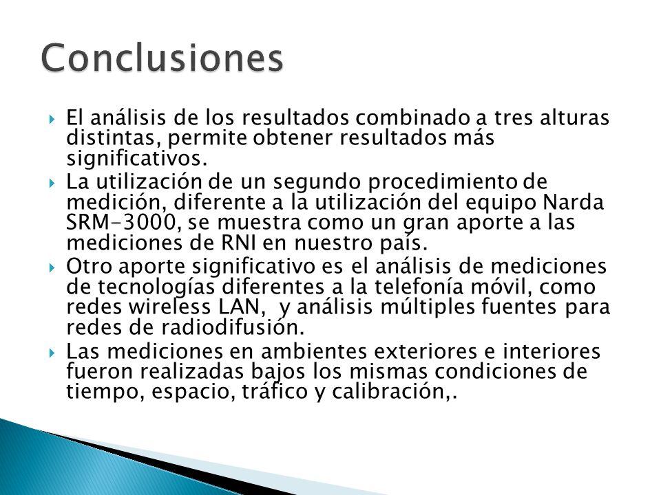 El análisis de los resultados combinado a tres alturas distintas, permite obtener resultados más significativos. La utilización de un segundo procedim