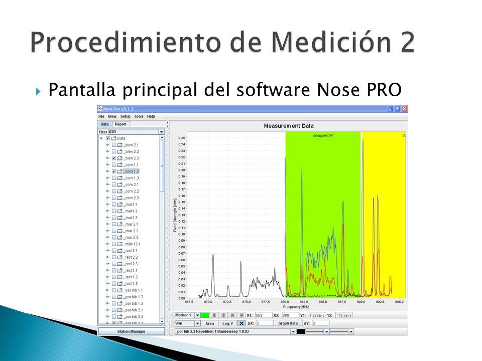Pantalla principal del software Nose PRO