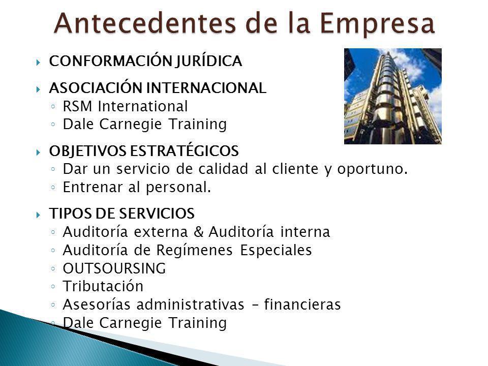 CONFORMACIÓN JURÍDICA ASOCIACIÓN INTERNACIONAL RSM International Dale Carnegie Training OBJETIVOS ESTRATÉGICOS Dar un servicio de calidad al cliente y
