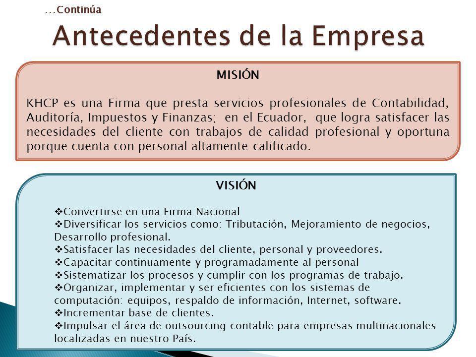 MISIÓN KHCP es una Firma que presta servicios profesionales de Contabilidad, Auditoría, Impuestos y Finanzas; en el Ecuador, que logra satisfacer las