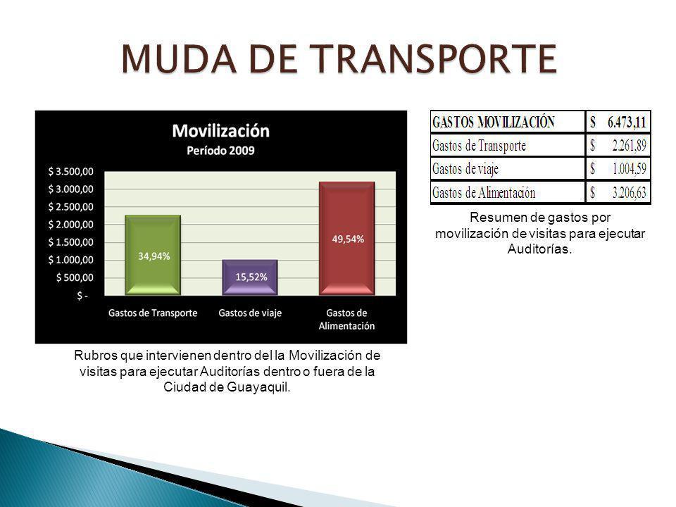 Rubros que intervienen dentro del la Movilización de visitas para ejecutar Auditorías dentro o fuera de la Ciudad de Guayaquil. Resumen de gastos por