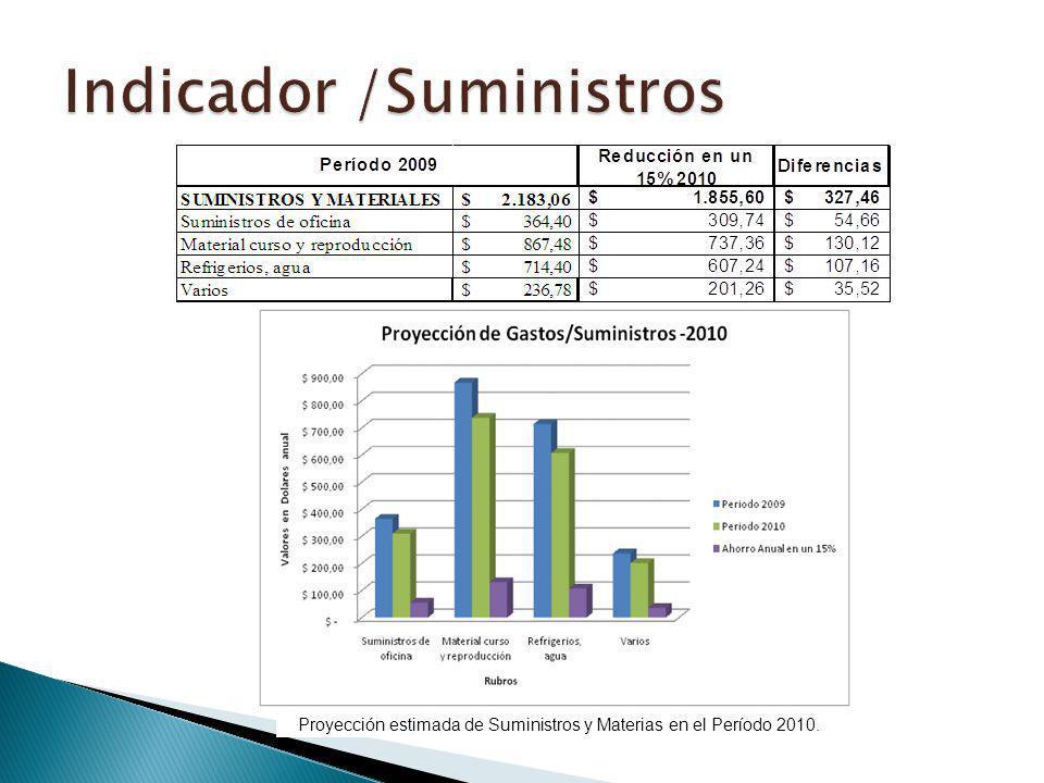 Proyección estimada de Suministros y Materias en el Período 2010.