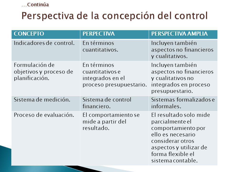 CONCEPTOPERPECTIVAPERSPECTIVA AMPLIA Indicadores de control.En términos cuantitativos. Incluyen también aspectos no financieros y cualitativos. Formul