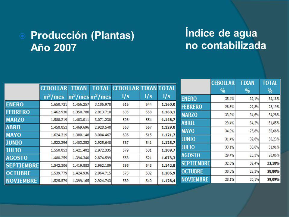 Producción (Plantas) Año 2007 Índice de agua no contabilizada