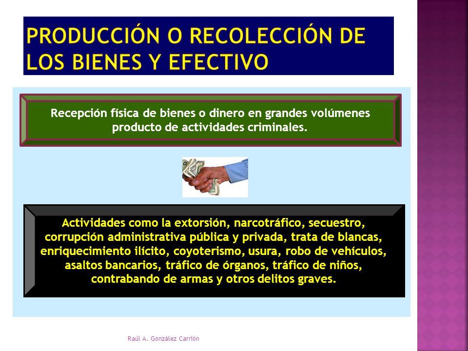 Recepción física de bienes o dinero en grandes volúmenes producto de actividades criminales. Actividades como la extorsión, narcotráfico, secuestro, c