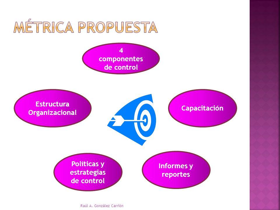 4 componentes de control Estructura Organizacional Políticas y estrategias de control Informes y reportes Capacitación Raúl A. González Carrión
