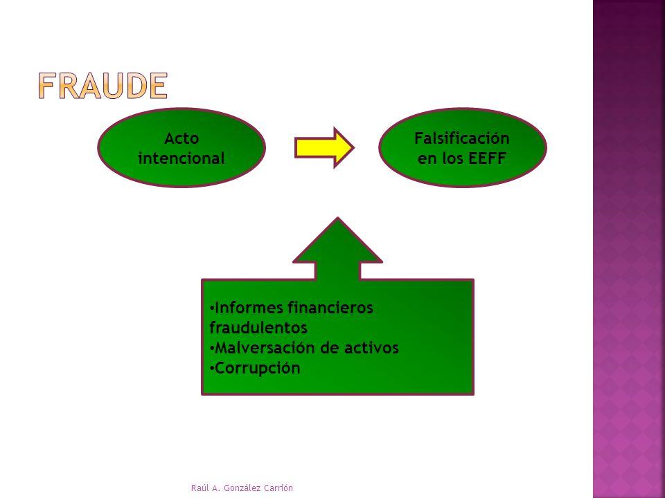 Acto intencional Falsificación en los EEFF Informes financieros fraudulentos Malversación de activos Corrupción Raúl A. González Carrión