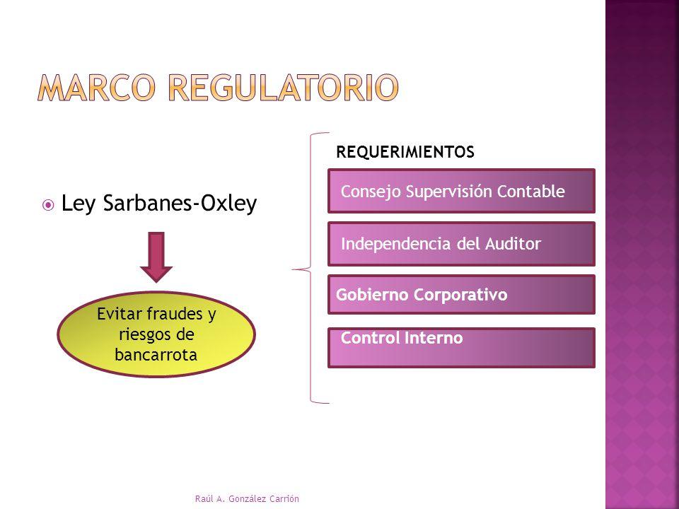 Ley Sarbanes-Oxley Evitar fraudes y riesgos de bancarrota REQUERIMIENTOS Consejo Supervisión Contable Gobierno Corporativo Independencia del Auditor C