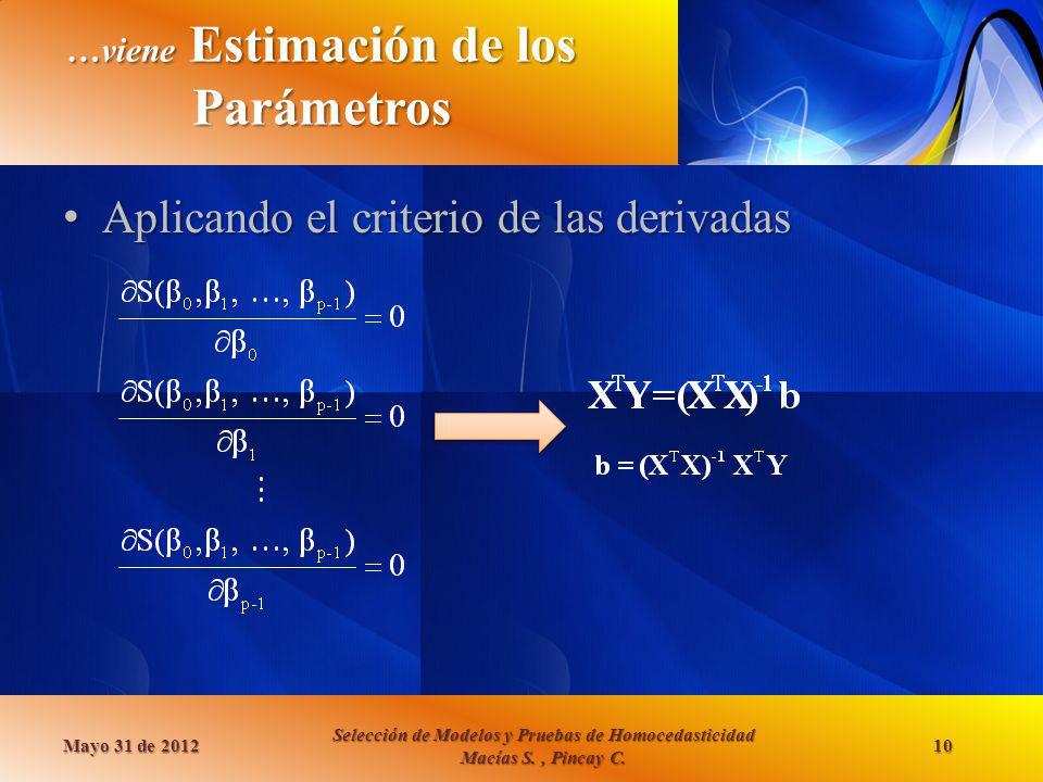 …viene Estimación de los Parámetros Aplicando el criterio de las derivadas Aplicando el criterio de las derivadas Mayo 31 de 2012 Selección de Modelos