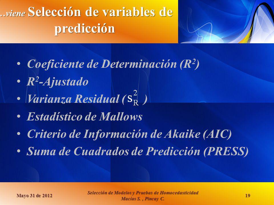 …viene Selección de variables de predicción Coeficiente de Determinación (R 2 ) R 2 -Ajustado Varianza Residual ( ) Estadístico de Mallows Criterio de